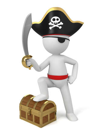A 3d pirate with a sword. 3d image. Isolated white background