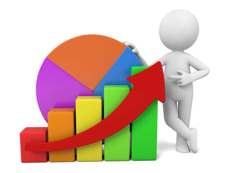 3d small person: 3d small person with a chart.  Stock Photo