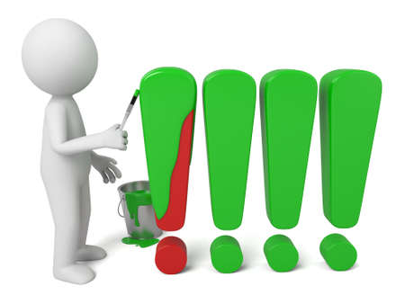 marks: 3d people paint exclamation marks. Stock Photo