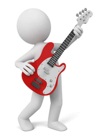 abstract music: 3d people with a guitar. Stock Photo