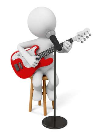 gente bailando: Guitarrista en el escenario con un micrófono.