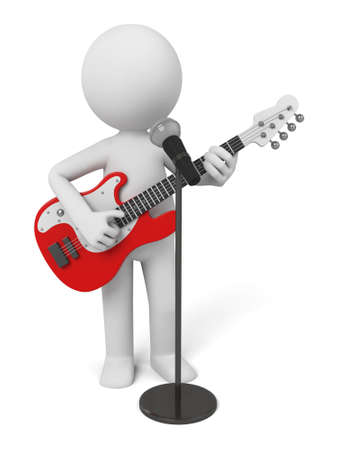 duet: Guitarist on stage using a microphone.  Stock Photo