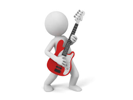 little man: 3d people with a guitar.