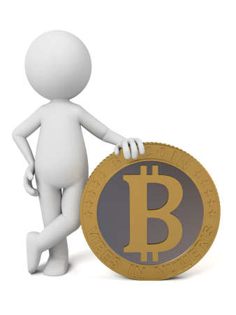net trade: 3d people with a bit-coin.
