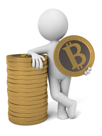 net trade: 3d people with some bit-coins. 3d image. Isolated white background.