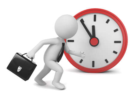 show time: A 3d people running, a red clock. 3d image. Isolated white background