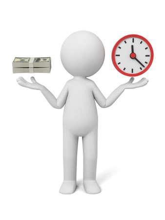 imagen: A la gente 3d con un reloj y algunos dólares.