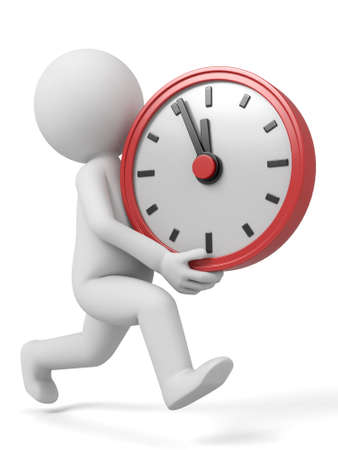 delay: A 3d people with a big clock. 3d image. Isolated white background