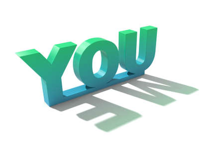 contradiction: letters of you with green color