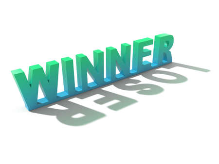 loser: Winner letters casting loser shadow.