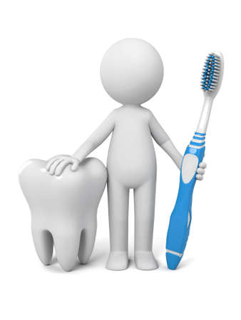 decayed: 3d people with a big tooth and a toothbrush. Stock Photo