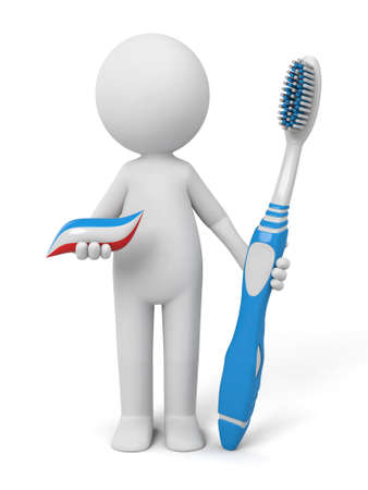 firstaid: 3d people with some toothpaste and a toothbrush.  Stock Photo