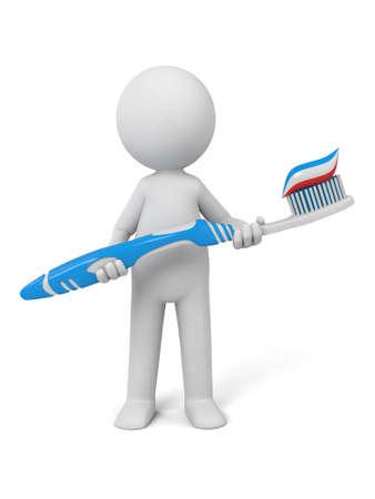 歯ブラシを持つ 3 d の人々。