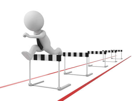race winner: 3d people jumping over a hurdle obstacle.
