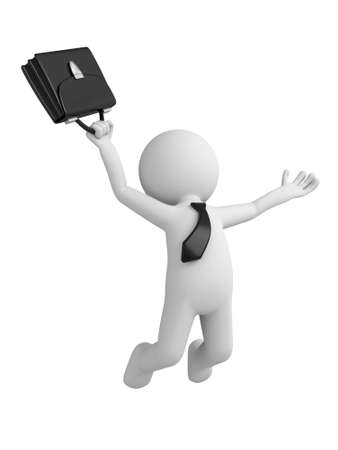 3d people happy jumping for the success with a briefcase. Banque d'images