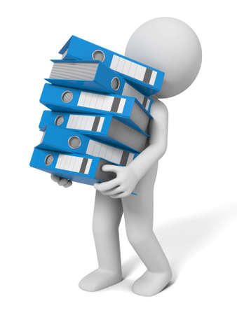 ring binders: 3d people carrying a large pile of Ring Binders