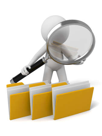 examine: 3d people examine some files with a magnifier