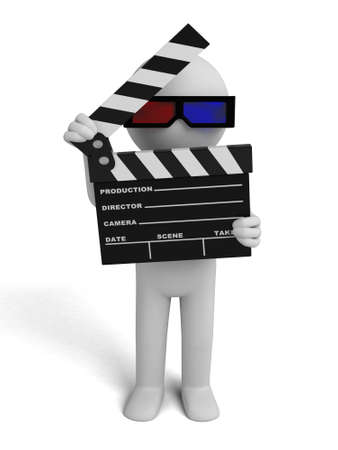 movie clapper: 3d people with a movie clapper