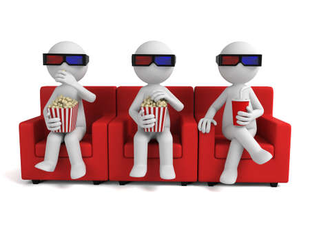 people watching: 3d people watching movie with 3d glasses