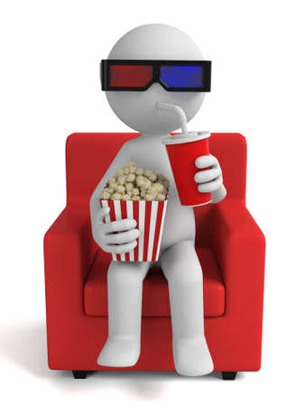 eating popcorn: 3d people watching movie with 3d glasses