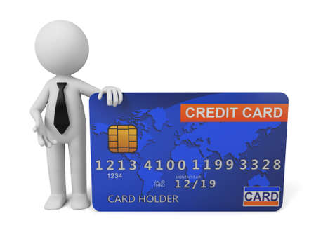 credit cards: 3d people with a big credit card Stock Photo