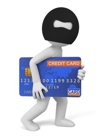 Een dief met een grote credit card Stockfoto