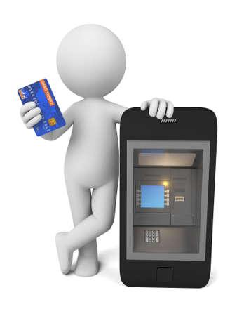 banco dinero: Gente 3d con un teléfono como ATM Foto de archivo