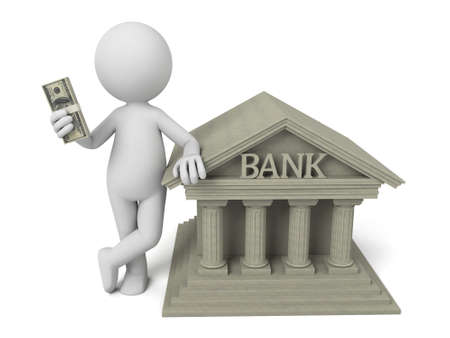 3d people with bank building