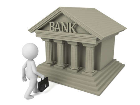 financial symbol: 3d people with bank building