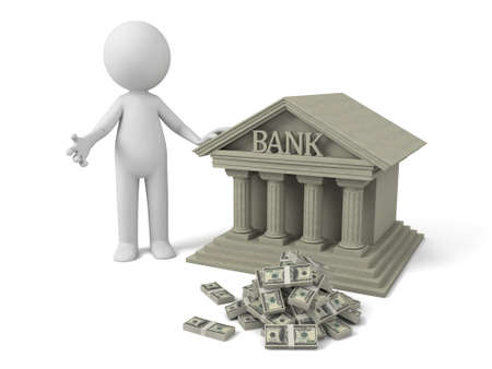 government: 3d people with bank building