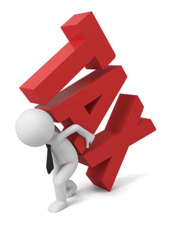 """impuestos: 3d personas que llevan la palabra """"impuesto"""""""