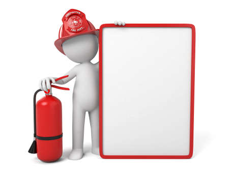 fire extinguisher sign: 3d fireman standing with empty signboard Stock Photo