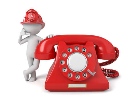 dangerous work: 3d fireman standing with telephone