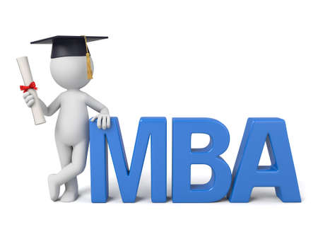 mba: 3d people with the word of MBA
