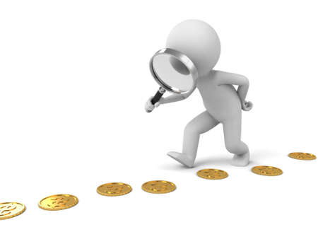 exaggerate: 3d people search some coins with magnifier