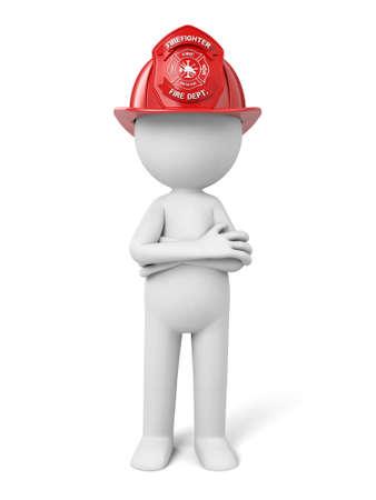 3d fireman standing with a helmet