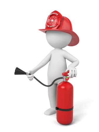 3D-brandweerman die zich met een helm en een brandblusser Stockfoto