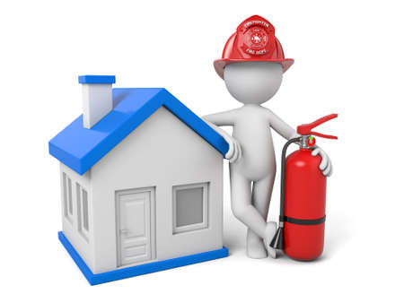 3d fireman standing with house