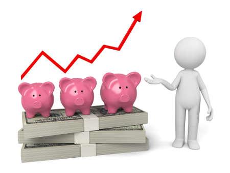 piggybank: 3d people with some money and a piggybank Stock Photo