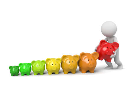 3d people with some pink piggy bank Stock Photo