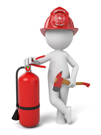 safety at work: 3d fireman standing with a helmet and a extinguisher