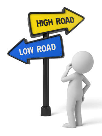 the righteous: A road sign with high road low road words . 3d image. Isolated white background