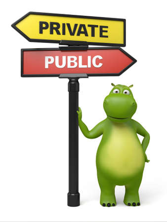 private or public: A road sign with private public words . 3d image. Isolated white background