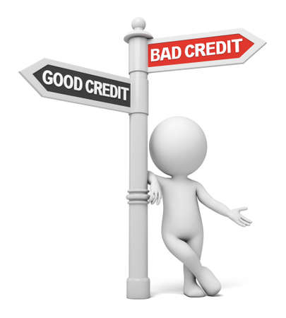 credit score: A road sign with bad credit good credit words. 3d image. Isolated white background Stock Photo