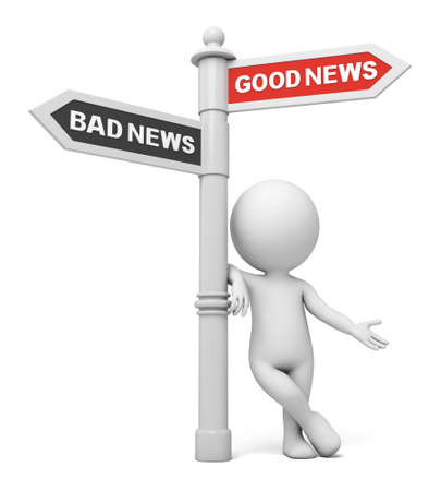 good and bad: A road sign with good news bad news words. 3d image. Isolated white background