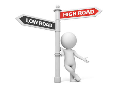A road sign with high road low road words . 3d image. Isolated white background