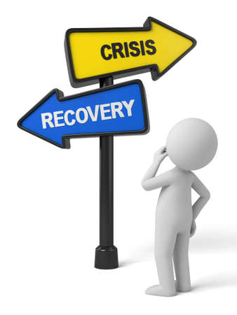 road to recovery: A road sign with crisis recovery words. 3d image. Isolated white background