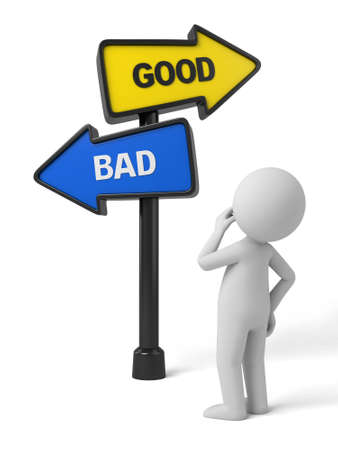 good and bad: A road sign with good bad words. 3d image. Isolated white background