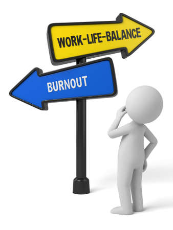 A road sign with work-life-balance burnout words . 3d image. Isolated white background