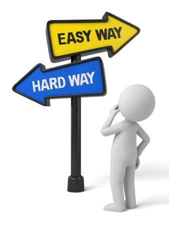 easy way: A road sign with easy way hard way words . 3d image. Isolated white background